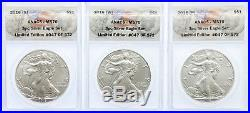 2016 (S), (P), (W) Silver Eagle ANACS 3 Coin Set MS70 Limited Edition # of 572