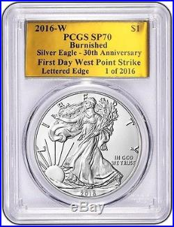 2016 W Burnished Silver Eagle Pcgs Sp70 First Day 30th Anniversary Gold Foil