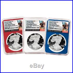 2016-W Proof American Silver Eagle NGC PF69UC 3pc Black ER Label Red White Blue