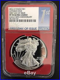2016-W Proof Silver American Eagle NGC PF 70 First Day of Issue 4 Coins