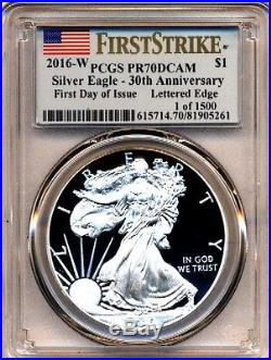 2016 W Proof Silver Eagle Pcgs Pr70 Dcam First Day Of Issue Flag Label 1 Of 1500