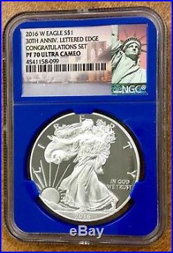 2016-W Silver Eagle from Congratulations Set NGC PF70, 30th Ann, Letttered Edge