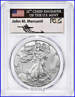 2017 (P) $1 Silver Eagle PCGS MS70 FIRST STRIKE MERCANTI SIGNED POPULATION 20