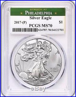 2017 (P) $1 Silver Eagle PCGS MS70 STRUCK AT PHILADELPHIA Green Philly Label