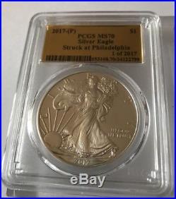 2017 P S W American Silver Eagle Set PCGS MS70 Gold Foil Label Philadelphia