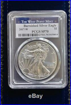 2017 (P) & W. Mint Silver American Eagles PCGS MS70 and Burnished PCGS SP70