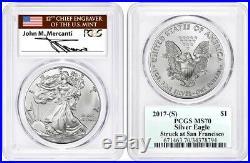 2017 (S) $1 Silver Eagle PCGS MS70 MERCANTI STRUCK AT SAN FRANCISCO