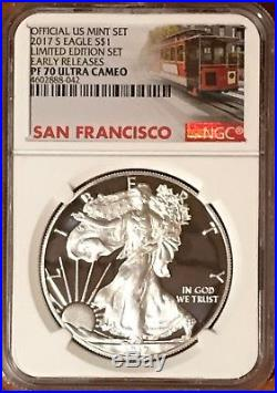 2017 S Proof Silver Eagle Limited Edition Set Ngc Pf70 Er Ultra Cameo Trolley