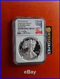 2017 S Proof Silver Eagle Ngc Pf70 Ultra Cameo Mercanti From Congratulations Set