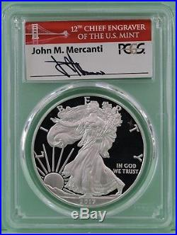 2017 S Proof Silver Eagle PCGS PR70 DCAM First Day Issue Mercanti Bridge Label