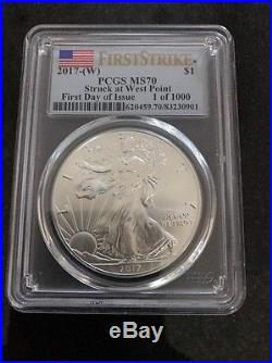 2017 S & W Silver Eagle PCGS MS70 PR70 Flag Label First Day Of Issue. 4 Coins