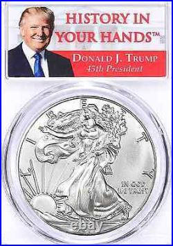 2017 Silver American Eagle Dollar PCGS MS70 Coin First Strike Trump Label ASE