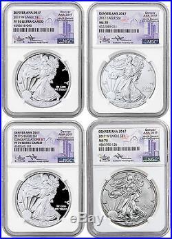 2017 Silver Eagle 4-Coin Set Denver ANA 2017 Mercanti NGC MS70 PF70 UC SKU48677