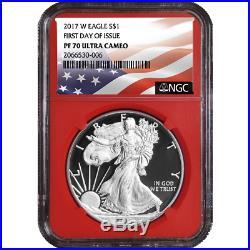 2017-W Proof $1 American Silver Eagle NGC PF70UC 3pc FDI Flag Label Red White Bl