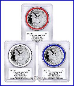 2017-W Proof Silver Eagle 3-Coin RWB Gasket FDI PCGS PR70 DCAM Trump SKU47126