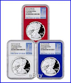 2017-W Proof Silver Eagle 3-Coin Set NGC PF70 UC FDI Red White & Blue SKU46469