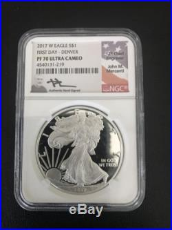 2017 W Proof Silver Eagle Ngc Pf70 Uc Mercanti First Day 3 Cities Pop 150