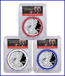 2017-W Silver Eagle 3-Coin Set PCGS PR70 FS RWB Gasket Trump SKU46239