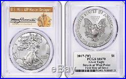 2017-(W) Silver Eagle MS 70 PCGS Thomas S Cleveland First Day of Issue FDOI