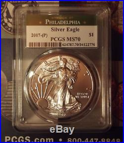 2017 (p) $1 MS70 GREEN LABEL American Silver Eagle (STRUCK AT PHILADELPHIA)