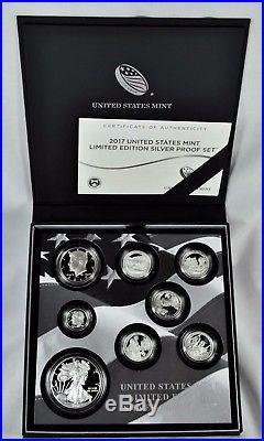 2017-s Limited Edition Silver U. S. Proof Set -proof Silver Eagle, Box & Coa 17rc