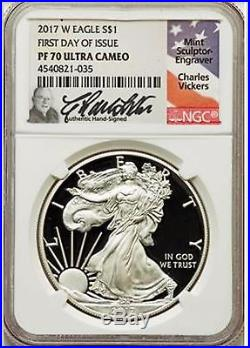 2017-w Proof Silver Eagle Ngc Pf70 First Day Of Issue Signed Charles Vickers