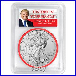 2018 $1 American Silver Eagle 3pc. Set PCGS MS70 Trump FS Red White Blue