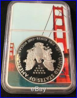 2018 S Silver Eagle FIRST DAY OF ISSUE PF70 ULTRA CAMEO BRIDGE LABEL CORE NGC