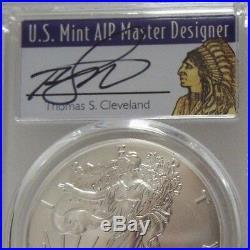 2018 W $1 American Burnished Silver Eagle PCGS SP70 FDOI Thomas Cleveland Native
