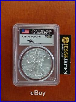 2018 W Burnished Silver Eagle Pcgs Sp70 Flag Mercanti Signed Label