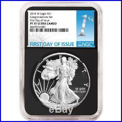 2018-W Proof $1 American Silver Eagle Congratulations Set NGC PF70UC FDI First L