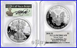 2018-W Proof $1 Silver Eagle Congratulations Set PCGS PR70 FDOI Thomas Cleveland