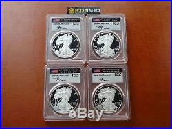 2018 W Proof Silver Eagle Pcgs Pr70 Mercanti First Day Issue 4 Coin Location Set