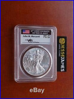 2018 (w) Silver Eagle Pcgs Ms70 Mercanti Struck At West Point First Day Of Issue