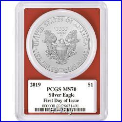 2019 $1 American Silver Eagle 3pc. Set PCGS MS70 FDOI Trump Label Red White Blue