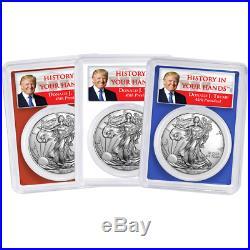 2019 $1 American Silver Eagle 3pc. Set PCGS MS70 Trump Label Red White Blue