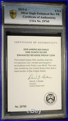 2019-S $1 1 oz. Enhanced Reverse Proof Silver Eagle PCGS PR70 First Strike & COA
