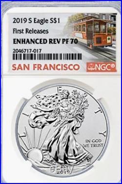 2019 S $1 Enhanced Reverse Proof American Silver Eagle NGC PF70- COA PRESALE