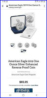 2019 S American Eagle One Ounce Silver Enhanced Reverse Proof Coin S 19XE