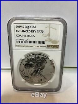 2019-S ENHANCED REVERSE PROOF SILVER EAGLE NGC PF70 With COA #04205 BROWN LABEL