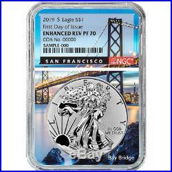 2019-S Enhanced Reverse Proof $1 American Silver Eagle / COA # NGC PF70 FDI San
