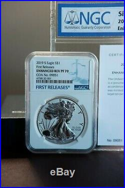 2019 S Enhanced Reverse Proof SILVER EAGLE(19XE), NGC PF70 FR with COA #, IN HAND