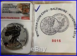 2019-S Enhanced Reverse Proof Silver Eagle Baltimore NGC PF70 BOX & COA #15