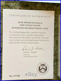 2019 S Enhanced Reverse Proof Silver Eagle PCGS PF69 NOV BALTIMORE FIRST STRIKE