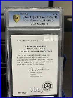 2019 S Enhanced Reverse Proof Silver Eagle PCGS PR70 First Strike COA #4091