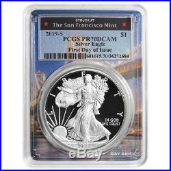 2019-S Proof $1 American Silver Eagle PCGS PR70DCAM FDOI San Francsisco Frame
