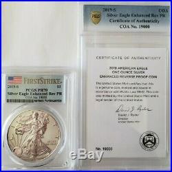 2019-S Silver Eagle Dollar Enhanced Reverse Proof PCGS PR70 FS COA #19000