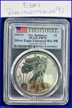 2019 San Francisco $1 Silver American Eagle Enhanced Reverse Proof Pcgs Pr70