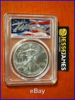 2019 Silver Eagle Pcgs Ms70 Flag Thomas Cleveland First Day Of Issue Fdi Label