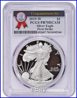 2019-W $1 Proof Silver Eagle PCGS PR70 DCAM FIRST STRIKE CONGRATULATIONS SET